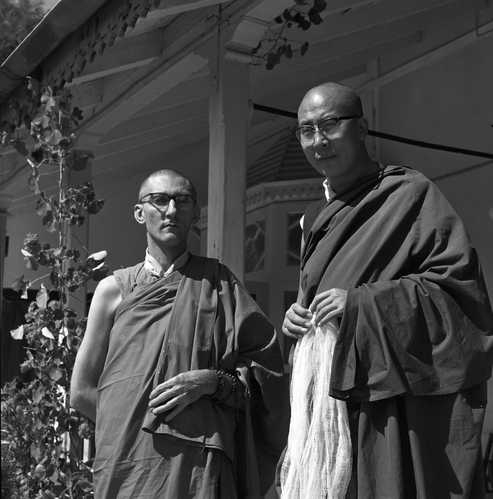 Urgyen Sangharakshita Rinpoche with HH the 14th Dalai Lama, Black & White Photo, circa 1960, Northern India or Nepal